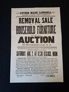 Antique Auction Broadside 1930s Peterborough New Hampshire E M Arnold Estate Ebay