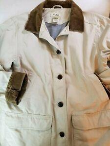 Womens Tan Large LL Bean Jacket Coat Corduroy Trim Barn ...