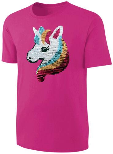 Baby Mädchen T-Shirt Wende Pailletten Glitzer Einhorn Streichel Shirt Pink