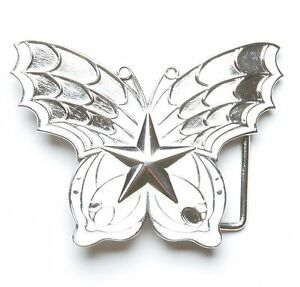 Star Belt Buckle Silver Metal Lightning Bolt Chrome Tattoo Gothic New Men Women