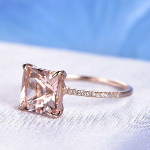2.20Ct Princess Morganite Diamond Solitaire Engagement Ring 14K Rose Gold Finish