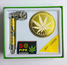 NEW FIVE PIPE SCREENS WITH 3 PART HERB GOLD GRINDER SET WITH METAL SMOKING PIPE