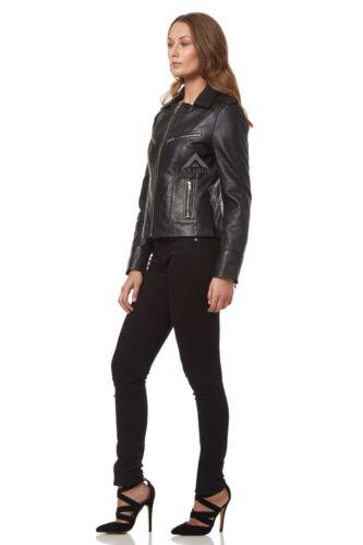 Le donne Motociclista Giacca in Vera Pelle Moda Nero Lavato stile Biker moto 9823