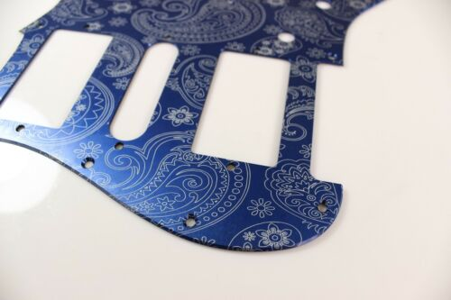 Blue Anodized Paisley  Aluminum HSH Strat Pickguard Fits Fender Stratocaster