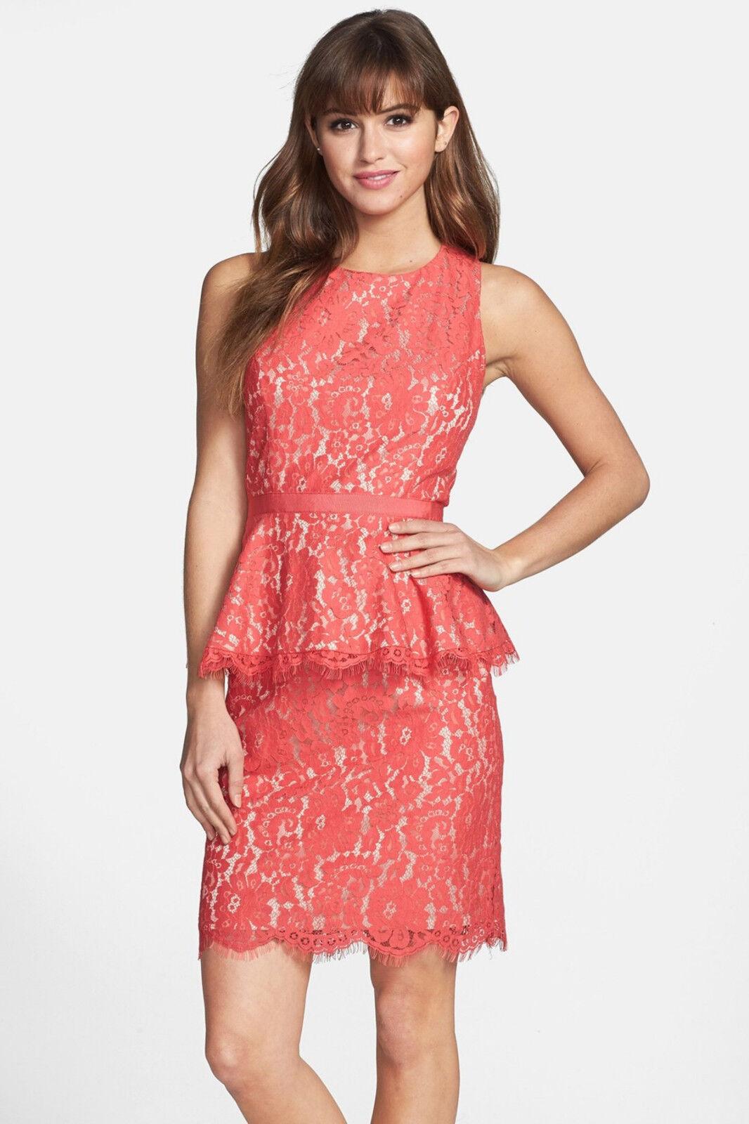 Eliza J Lace Peplum Sheath Sheath Sheath Dress CORAL SIZE 10 NWT 15dc2e