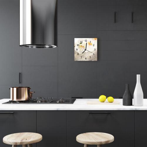 Tulup Glasuhr Wanduhr Küchenuhr Echt-Glas 30x30 cm Orchidee weiß