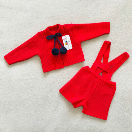 Boys H Bar Pom Pom Set Spanish Outfit Spanish Knitted Set Red /& Navy Blue