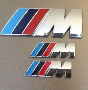 ///M Sport { 1x Boot + 2x Wings Set} Chrome Metal Badge BMW 1,2,3,4 5 XUK Stock