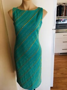 BNWT-Ladies-MARTINI-Dress-Aqua-amp-Gold-Size-10-Cocktail-Party-Formal-Long