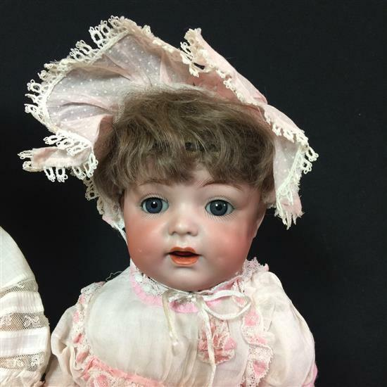 "Antique 15"" German  Bisque KR 122 Baby Doll Darling rosa Antique Gown & Bonnet"