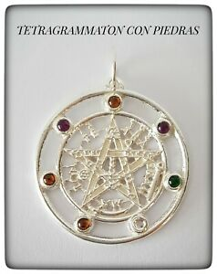 Tetragrammaton platapentagram pagan wiccan Pendant Plata 925 Sterling Silver