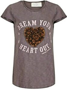 Ex-Next-T-shirt-Top-Girls-Age-4-12-Years-Dark-Grey-Dream-Your-Heart-Out-Sequins