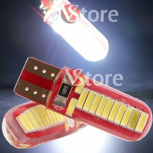 2-Veilleuses-LED-T10-ampoules-24-smd-Canbus-Silicone-5W-BLANC-ANTI-ERREUR-Lampe