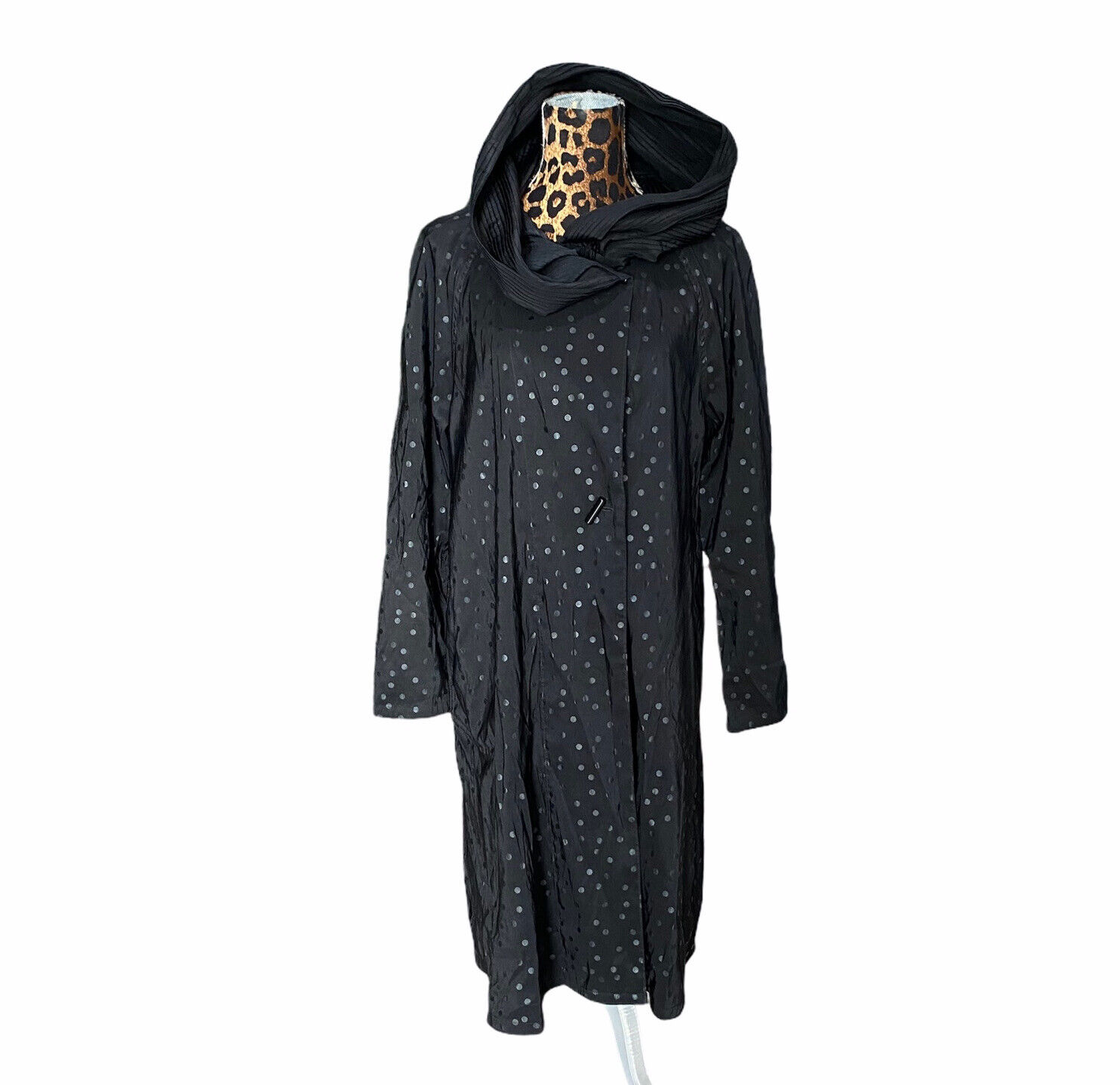 Mycra Pac Long Donatella Raincoat Black Dot Reversible Pleated Hood Sz O-P 2