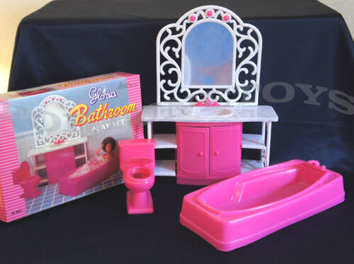 GLORIA DOLLHOUSE FURNITURE BATHROOM w//Tub Mirror /& Sink PLAYSET 94013