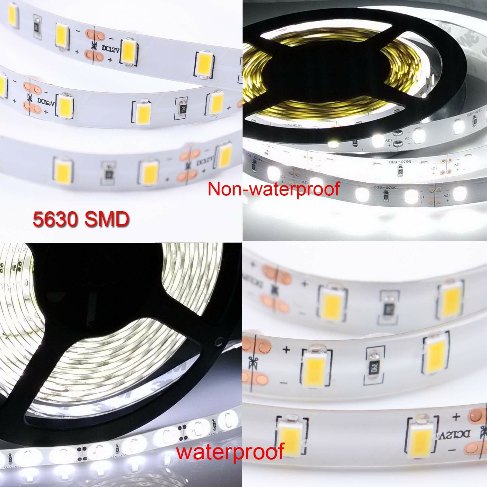5m 10m 20m 5630 SMD LED Strip Lights Kit Waterproof Dimmable Adapter Controller 4
