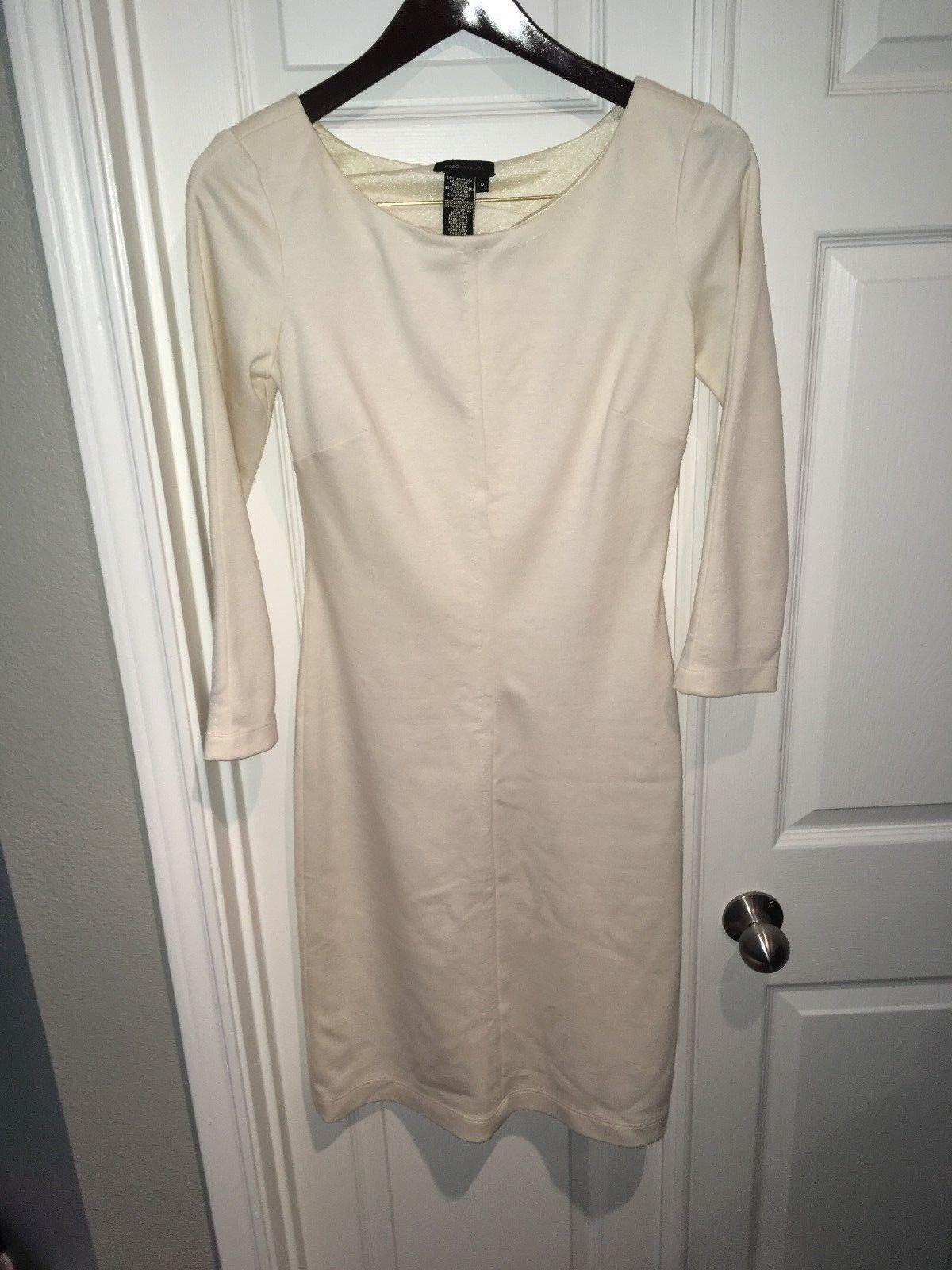 BCBG Maxazria Dress Größe 0 Weiß Cream Solid Sheath Long Sleeve Mid Calf Casual