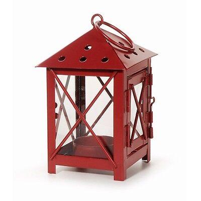 RED LANTERN--Tea Light Hanging Lantern-Metal with Glass Windows