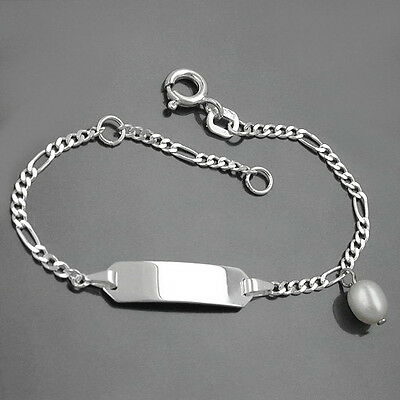 Baby Taufe Kinder Id Armband + Namen Gravur Echt Silber 925 Süßwasserzucht Perle Attraktive Mode
