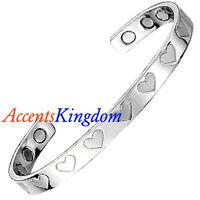 Accents Kingdom Women's Magnetic Copper Bangle Cuff Bracelet Platinum Hearts
