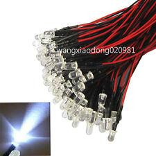 100pcs 100 x Pre wired 5mm Bright White LEDs Bulb 20cm Prewired 12V LED Lamp
