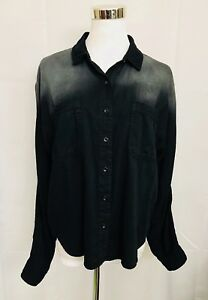 BDG-Urban-Outfitters-Shirt-Black-Gray-Ombre-Cotton-Button-Front-Top-size-Medium