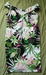 JD-Williams-Women-039-s-White-Floral-Bodycon-Bardot-Dress-Size-24-New-With-Defects