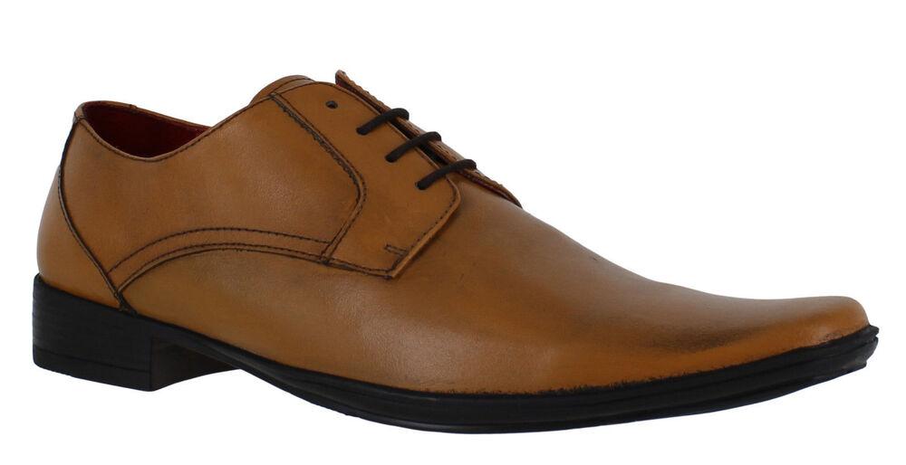 Lambretta Heath Hommes Fauve Bout Carré Cuir Bureau Lacets Chaussures Habillées