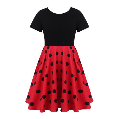 Kids Girls Vintage Polka Dots Swing Dress Party Casual Skater A-line Sundress