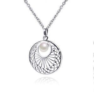 Details zu MATERIA Damen Anhänger Perle Silber 925 rhodiniert rund deutsche Fertigung + Box