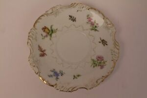 Silesia-Porcelain-Saucer-Coasters-Silesia-Flowers-Hand-Painted-Gold-Rim