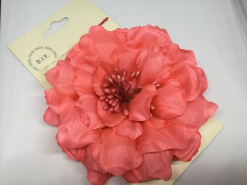 Clip John Lewis  Ladies Corsage  Feather Flower Open Peony Dark Coral