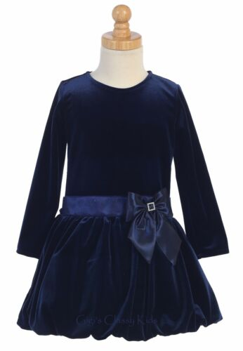 New Toddler Kids Girls Stretch Navy Blue Velvet Dress Christmas Holidays 995