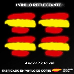 4X-BANDERA-ESPANA-REFLECTANTE-PEGATINA-STICKER-VINILO-COCHE-ADHESIVO-MOTO-CASCO