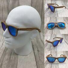 Mens Zebra Wood Frame Blue Mirror Tac Polarized Sunglasses