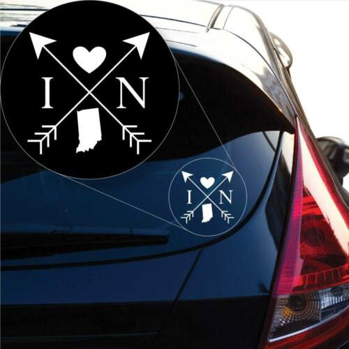 Indiana Love Cross Arrow State IN Decal Sticker for Car Window Laptop # 1080