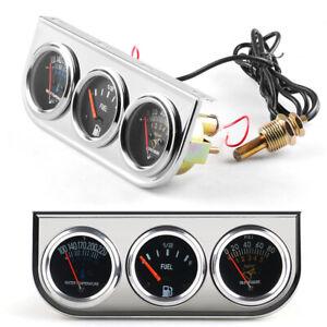 52mm Chrome 3in1 Car Triple Gauge Kit Oil Pressure Water Temp Fuel Level Gauge