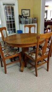 Image Is Loading Vintage Oak Dining Table And 5 Chairs