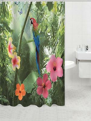 Parrot in Rain Forest with Flowers Bathroom Shower Curtain 180cm X 200cm