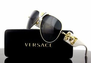 bd8668bb3102 Image is loading LIMITED-EDITION-Genuine-VERSACE-Runway-Aviator-White- Sunglasses-