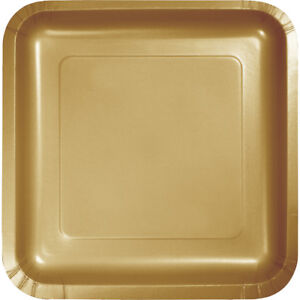 Image is loading 54-Pack-Gold-Square-Paper-Plates-7-inch-  sc 1 st  eBay & 54 Pack) Gold Square Paper Plates 7-inch Plates Wedding Birthday ...