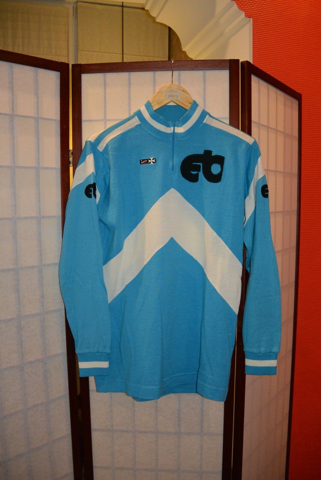 EB befa France bluee 70's -80's old retro cycling jersey wolle  Perfect cond