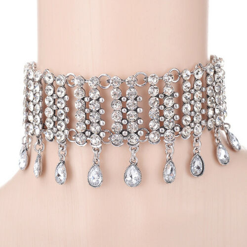Femmes Mode Déclaration strass cristal Choker Chunky Bib Col Collier