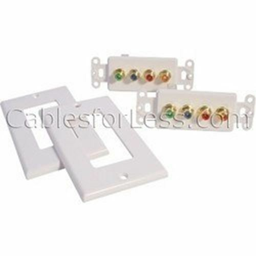 In-Wall White Passive Component Video With Digital Audio Balun Pair