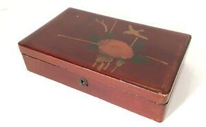 Antique-Ancien-Chine-Boite-de-Laque-Cases-Coffret-Boite-a-Bijoux-Um-1900