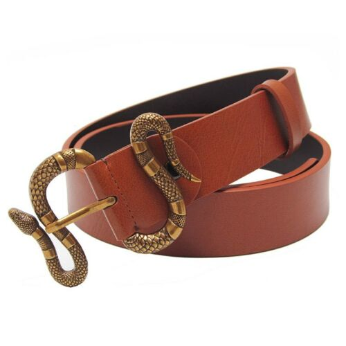 Western Black Brown White Men Leather Strap Jeans Fashion Retro pin Snake