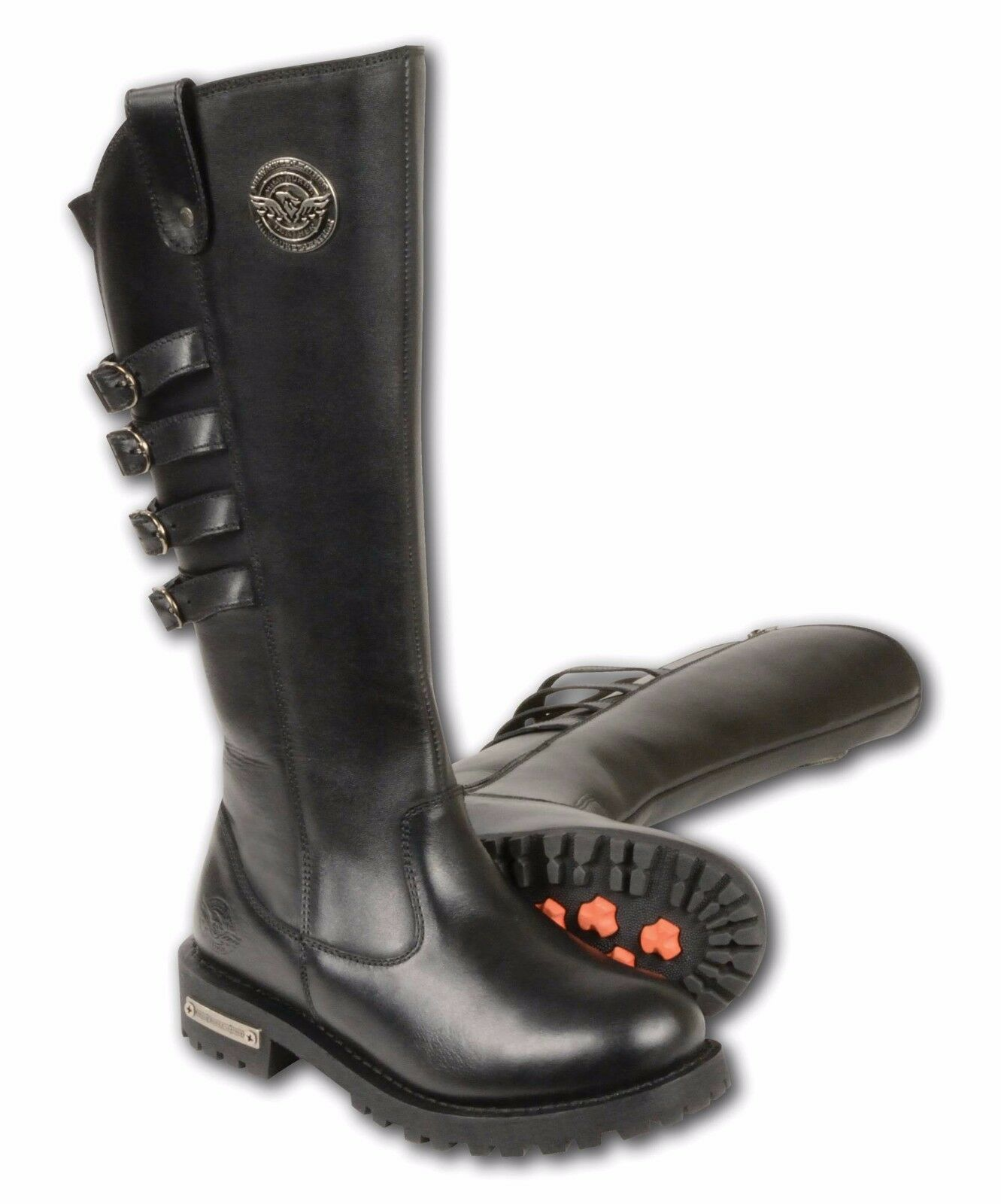 Ladies Black Leather 15  Tall High Rise Boots, Square Toe, 4 Calf Buckles