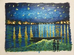 Hand-Painted-Oil-Painting-On-Canvas-Starry-Night-Over-The-Rhone-Home-Decor