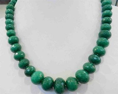 10-18mm Natural Emerald Faceted Gems Roundel Beads Necklace 19""