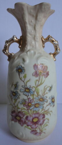 Royal RW Rudolstadt Germany Two Handled Floral Blossom Vase Hand Painted Gold Tr